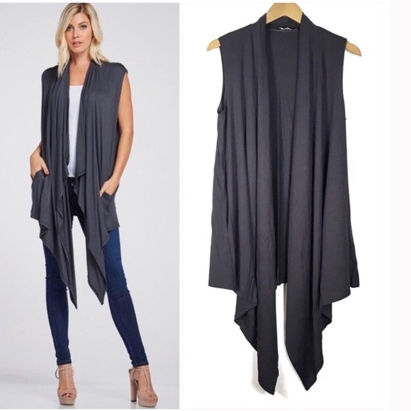 Jackets & Blazers - Gray Waterfall Cardigan Open Front Vest Size Small